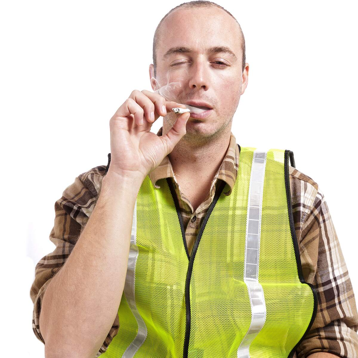 Drug Test male road worker