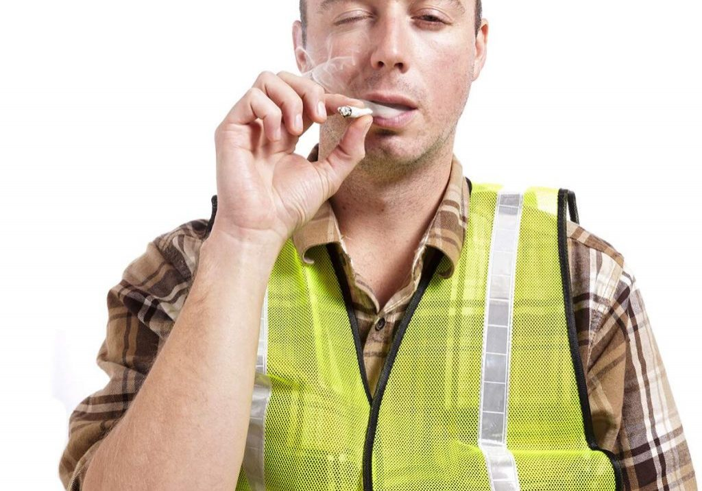 Drug Test male road worker